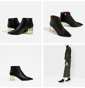 160964961522 ZARA LEATHER ANKLE BOOT WITH METHACRYLATE HEEL EUR 38-41 US 7.5-10 ...