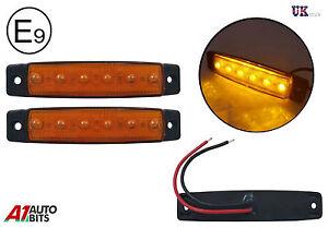 2 x 6 led orange ambr feux de position clignotant. Black Bedroom Furniture Sets. Home Design Ideas
