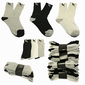 cats-3or12-Pairs-Men-Crew-Sport-Socks-Cotton-Calf-Cushioned-White-Gray-Black