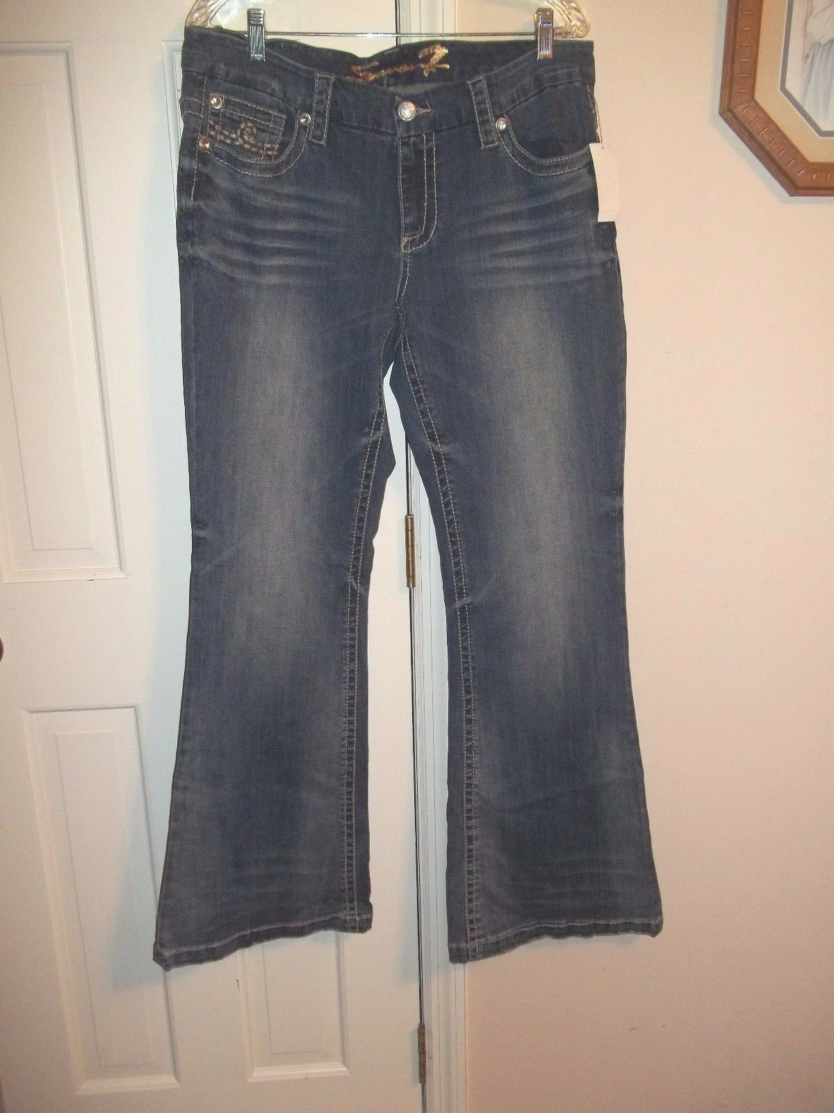 SEVEN 7 LADIES SIZE 16 DENIM JEANS blueE JEAN PANTS NWT FLARE LEGS FLAT FRONT