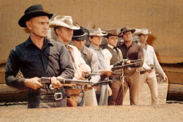 """""""The Magnificent Seven"""" 1960's Yul Brenner Movie Scene Tabletop Display Standee"""