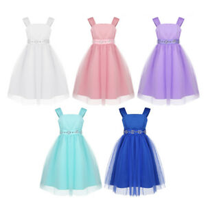 74169286544 Image is loading Kids-Mesh-Flower-Girl-Dress-Princess-Pageant-Wedding-