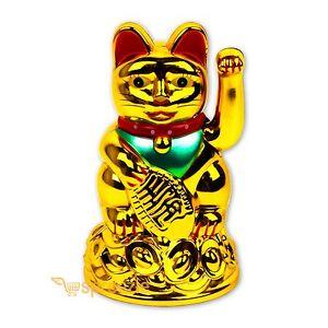 """Feng Shui  BECKONING CAT Wealth Lucky Waving Kitty Maneki Neko 6/"""" Tall BLACK"""