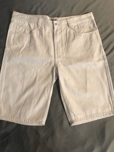 Men/'s Parish Nations Snow White Denim Jean Shorts