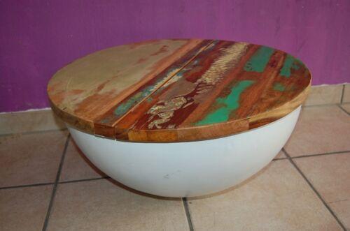 Design sofá mesa mangoholz Sophie 2 metal redondo mesa auxiliar semiesfera 60x32cm