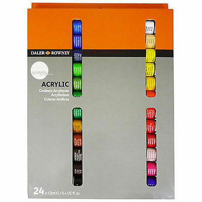 Daler Rowney Simply Acrylic Paint Set - 24 x 12ml Tubes