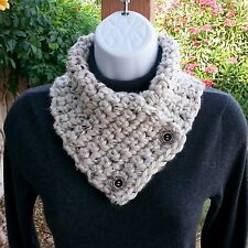 NECK WARMER SCARF Off White Tweed Handmade Crochet Knit Winter Cowl with Buttons