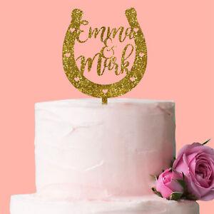 Personalised horseshoe cake topper wedding anniversary engagement image is loading personalised horseshoe cake topper wedding anniversary engagement decoration junglespirit Choice Image