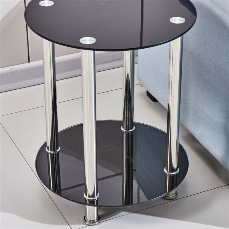 Modern 2 tier black round glass side end lamp corner table - Glass side tables for living room uk ...
