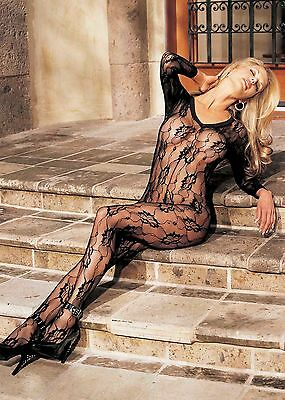 Black Floral Lace Long Sleeve Body Stocking Open Crotch One Size Shirley 90003