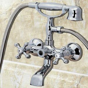 2 Handles Chrome Clawfoot Bath Tub Bathroom Faucet Hand Held Shower Sprayer Ebay