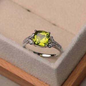 14K-White-Gold-2-95-Ct-Cushion-Real-Peridot-Diamond-Engagement-Ring-Size-6-7-5