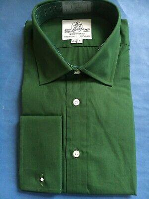 "Harvie /& Hudson 18.5/""//33.5/"" Two Fold 100/% Cotton White Poplin Double Cuff Shirt"