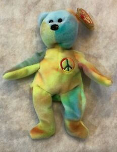 1996 Peace Bear Ty Beanie Baby With ERRORS New Retired - MWMT  f3e88901e5f2