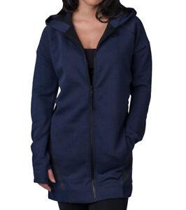 SZ S Women s Nike Sportswear Tech Fleece Mesh Cocoon Jacket Blue ... c7da68b1c