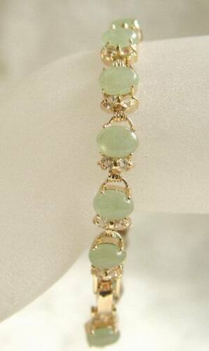 Naturel vert clair jade jaune cristal Plaqué or lien Fermoir Bracelet Jonc