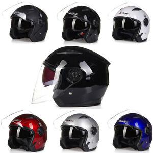 Motorcycle-Helmet-Open-Face-w-Dual-Visor-Scooter-Unisex-Jet-Helmet-M-L-XL-XXL