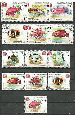 Mittlerer Osten Systematisch Jemen Fische 1967 Mi#323-329 397-402 Mnh