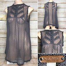 Free People Long Blouse Camisole Dress Sheer Gray Knit Sleeveless Top Size Large