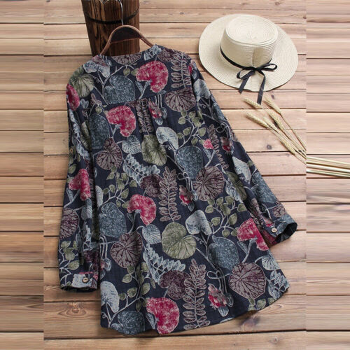 Plus Size Ladies Floral Print T-Shirt Long Sleeve Loose Fit Tunic Casual Blouse