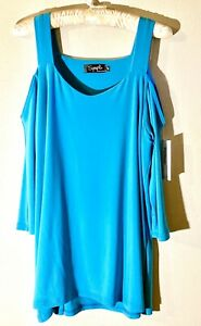 NEW-Sympli-3-4-Sleeve-Etched-Top-Cold-Shoulder-Turquoise-Teal-Size-14