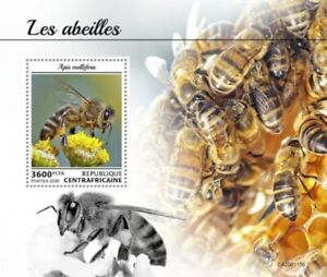 Central Africa - 2020 Western Honey Bees - Stamp Souvenir Sheet - CA200115b