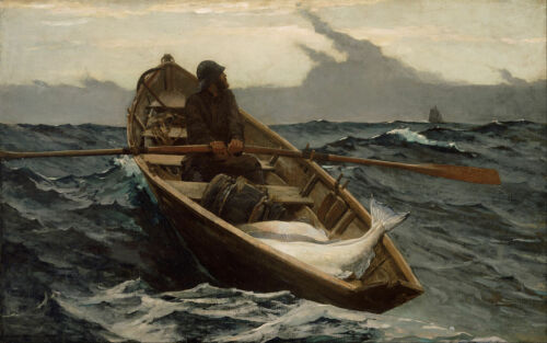 Oil painting Winslow/_Homer The Fog Warning fisher /& fish on ocean /& huge waves