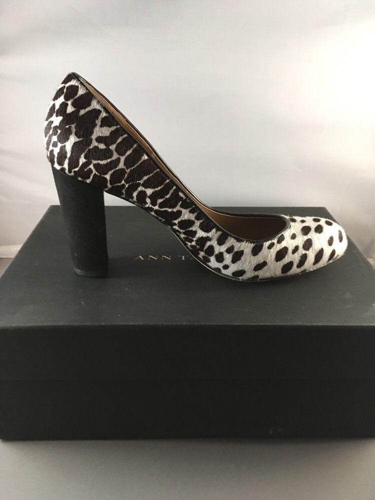 Ann Taylor Spotted Haircalf Perfect Block Heels Pump-Größe 5-winter WEISS-NIB