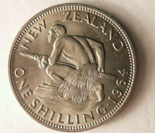 FREE SHIP Great Coin 1964 NEW ZEALAND SHILLING BIN OOO AU//UNC