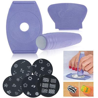DIY Nail Art Stamp Stencil Stamper Design Stamping Image Template Plate Set Tool
