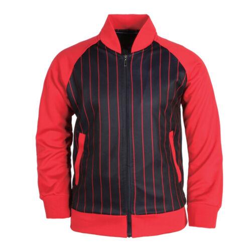 New Mens Baseball Striped Zip Up Track Top Jacket Team Uniform Jersey Shirt