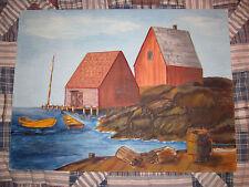 Vintage Painting Harbor Scene Peggys Cove Nova Scotia Halifax Folk Art