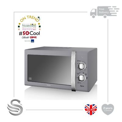 Swan SM22130GRN Retro Manual Microwave, 20 Litre, 800 W, Grey -Brand New