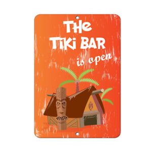 Image Is Loading The Tiki Bar Open Funny Quote Aluminum