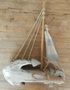 Anchor sailboat sailing yacht Rustic style wood ornament Nautical sea UK SELLER