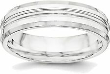 Sterling Silver 6mm Polished Fancy Band Ring QWB118