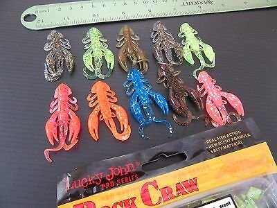 """10x(a Mix of colors) Lucky John ROCK CRAW 2"""" Eatable strong crayfishl scent"""
