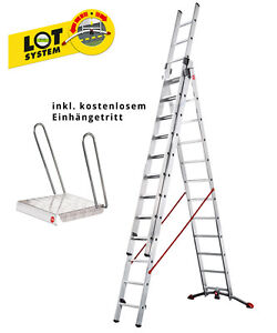 Hailo-ProfiLOT-3x12-Sprossen-Alu-Kombileiter-inkl-Einhaengetritt-Leiter