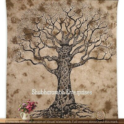 Queen Indian Cotton Tree of Life Batik Tapestry Hiippie Wall Decor Wall Hanging