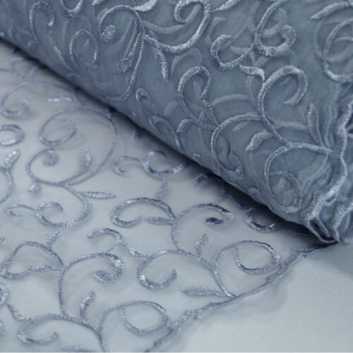 Embroidered Vine Nylon Voile Organza Curtain Dress Fabric