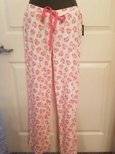 Super-soft-Cynthia-Rowley-white-Pajama-Lounge-pants-Hearts-Love-print-hearts