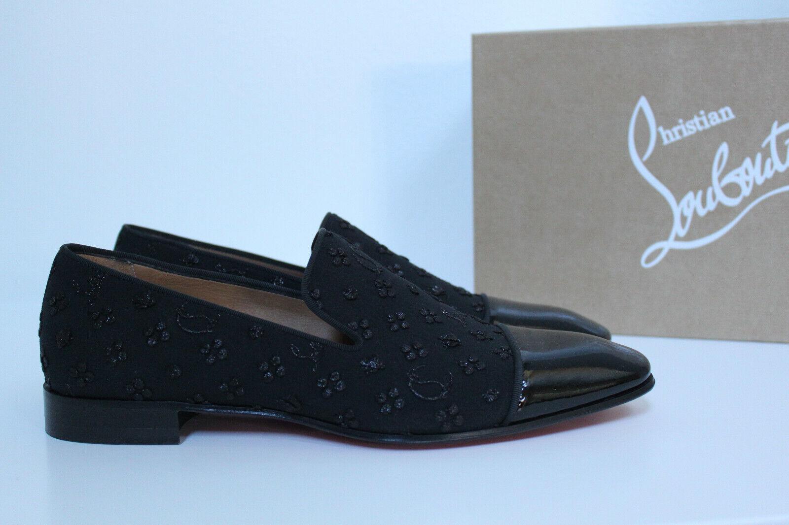 Nos 8.5 41.5 Christian Louboutin Diente de León Plano Negro puntera Oxford Zapatos Con Logotipo