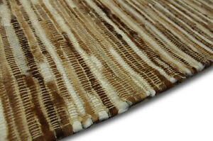 Tapis-Patchwork-cuir-veritable-160x230-cm-Vintage-Peau-de-vache-marron