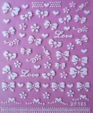 3D Nail Art Bows Nail Art Stickers Decals Transfers Love Hearts Lace #102