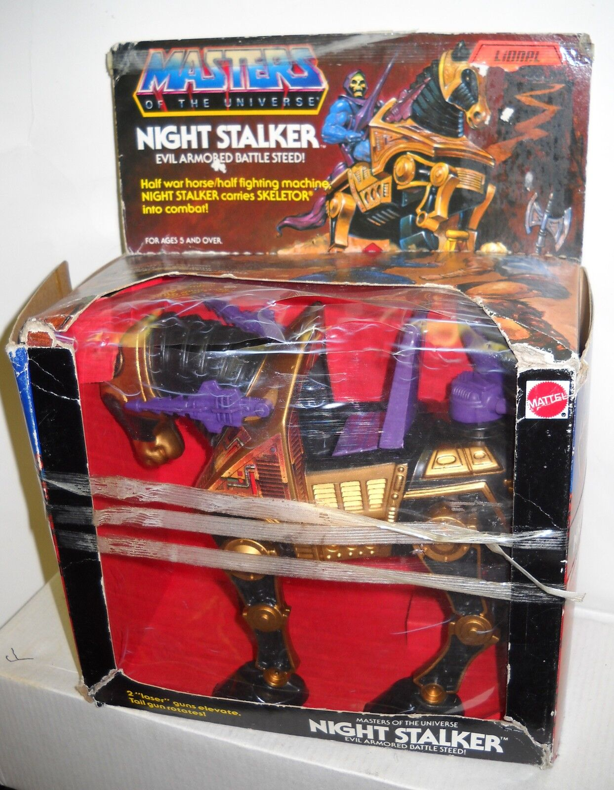 3857 NIB Vintage Mattel MOTU Night Stalker Evil Evil Evil ArmoROT Battle Steed (BAD BOX) dc01f5