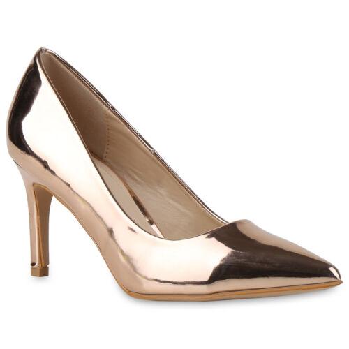 Spitze Damen Abiball Pumps Lack High Heels Party Stilettos 815223 Trendy Neu