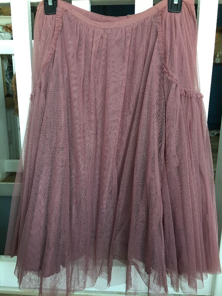 Odille Mauve Mesh Tulle A-Line Peasant Skirt 4 Rare
