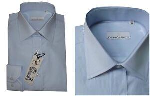 Charitable Camicia Cerimonia Uomo Celeste Elegante In Cotone Classica 40 41 42 43 44 45 Da Complet Dans Les SpéCifications