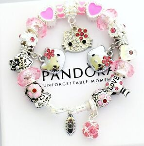 710aad2a4ce75 Details about Authentic PANDORA 925 Silver Charm Bracelet and Euro Charms  Pink Hello Kitty CZ
