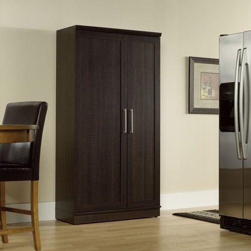 Kitchen Pantry Cabinet Storage Organizer Cupboard Tall Espresso Oak Finish Home